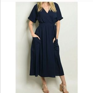 Short sleeve wrap midi dress